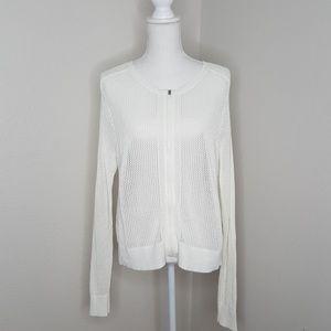 Athleta White Zip up Long Sleeve Knit Sweater